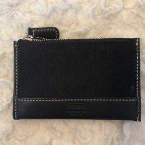 Coach Signature Canvas Card Holder Black